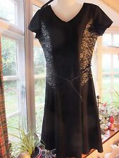 Smart Black DRESS with textured panels Patent Belt size 12