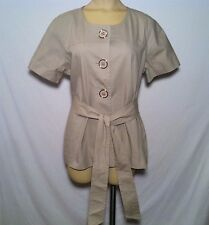 Apostrophe Taupe Jacket Topper w/ Belt & Large Buttons Women's Size L Large NWT!