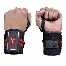 4Fit Power Weight Lifting Wrist Wraps Supports Gym Training Fist Straps B&R