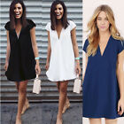 Fashion Womens V Neck Loose Chiffon Shirt Dress Short Sleeve Casual Blouse Tops