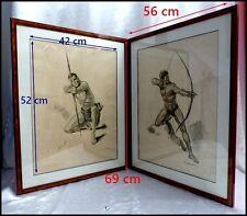 """Paul Ordner 1900-1969  """"Les Archers"""" 2 Lithographies Encadrées 1930 Arcadie Gay"""