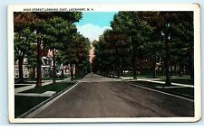 High Street St View Looking East Lockport NY New York old Vintage Postcard B11