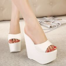 Womens summer PeepToe High Heels Platform Wedges Sandals Slippers shoes