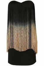 Topshop fringe bandeau dress by Rare UK 6 in Black ( New with tags )