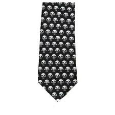 Men's Black Neck Tie White Skulls Long Novelty Rock Biker Gothic