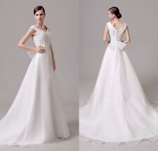White A Line Bow Lace Bridal Gown Wedding Dress In Stock 4 6 8 10 12 14 16
