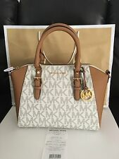 NWT MICHAEL KORS MK SIGNATURE CIARA LARGE SATCHEL BAG VANILLA/ACORN MSRP$398