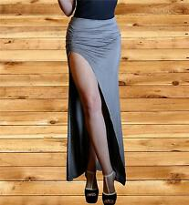 Long maxi gray skirt thigh high slit ruched skirt Fitted Split 2xlarge