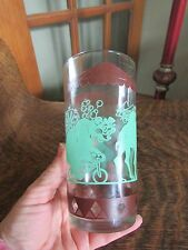 "VINTAGE ""CIRCUS TOP"" DESIGN BROWN AND GREEN DRINKING GLASS"