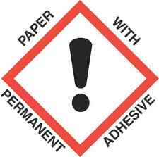 4 inch x 4 inch GHS Exclamation Mark Paper Labels - ROLL OF 500)