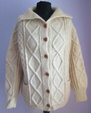 VTG Ladies Unbranded Cream Cable Knit Wool Cardigan Size Large  (C45)