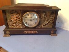 Extremely Rare Ingraham Shipping Model Mantle Clock Carved Boat Scenes