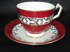 VINTAGE AYNSLEY ENG CHINA TEA CUP&SAUCER RED WHITE  GOLD PRE OWN