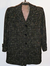 VINTAGE 1940s-50s WOMEN'S ROCKABILLY FLECKED WOOL COAT! QUILTED LINING! GRAY! 6