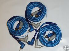 3 Pack RCA Audio Cable Cables 15 Feet Right Angle Amplifier Blue Remote Wire