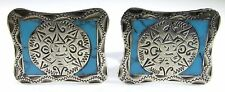 Sterling Silver Cufflinks with Aztec Sun God and Turquoise Inlay Signed ACL