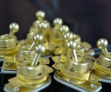 10-Pack On/Off Toggle Switch - Brass Plated - 6A/120V - Steampunk Switch 2-Wire