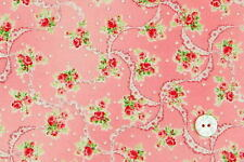 Cottage Shabby Chic Cotton Fabric Mary Rose Sweet Charms MR2150-12A Pink BTY