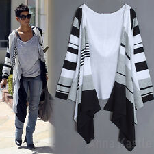 AnnaKastle New Womens Draped Open Front Bold Striped Flyaway Cardigan Sweater