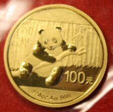 CHINESE GOLD PANDA BEAR 2014 1/4 oz .999% BU GREAT COLLECTOR COIN GIFT
