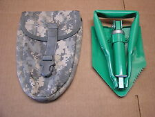 """Civilian Folding Shovel With Military Carrier Pouch 10"""" to 23"""" Tempered Steel"""
