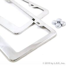 2 Stainless Steel Polished License Plate Frames Plain Blank Metal Tag Cover Caps