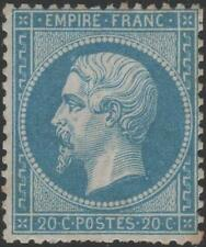 "FRANCE  STAMP TIMBRE N° 22 "" NAPOLEON III 20c BLEU 1862 "" NEUF x TB   K055"