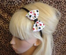 "WHITE CARD DECK PRINT FABRIC SMALL 3"" SIDE BOW BLACK ALICE HAIR HEAD BAND CUTE"