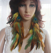 43a-7 Peacock  Natural Feather Earrings 1 pair length 28cm--31CM