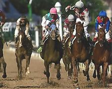 FUNNY CIDE BEATS EMPIRE MAKER 8X10 PHOTO HORSE RACING PICTURE JOCKEY