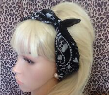 BLACK WHITE SKULL PRINT COTTON BANDANA HEAD HAIR NECK SCARF ROCKABILLY PIN UP