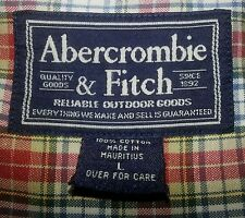 s706 L Orange Green White Plaid ABERCROMBIE & FITCH Biggest Shirt L/S Shirt!