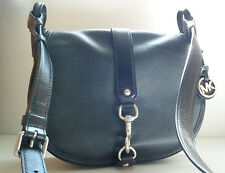 MICHAEL MICHAEL KORS JAMIE LARGE SADDLE LEATHER CROSSBODY BAGS BLACK SILVER
