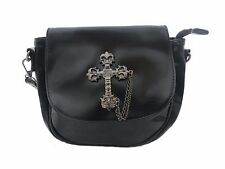 GOTHIC CROSS Soft Faux Leather Handbag Black Shoulder Metal Steam Punk Goth Bag