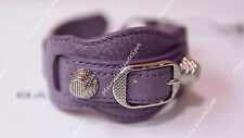 BALENCIAGA LILAC LAVENDER PURPLE GLYCINE BRACELET GIANT SILVER HW BANGLE S NEW