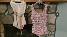 Women's Blouse Size S Lot of 2 Summery Strapless Tan Belted Pink Gray White Cute