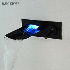 LED Oil Rubbed Bronze Bathroom Faucet Waterfall Wall Mount One Handle Mixer Taps