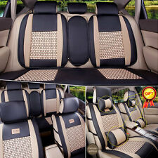 PU Leather 5-Seats Car Seat Covers Cushions Front & Rear W/ Pillows 11PCS Size L
