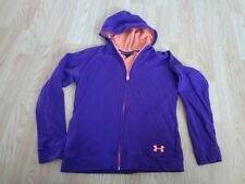 Youth Girls Under Armour L Jacket Hooded Zip Up Purple Long Sleeve Loose
