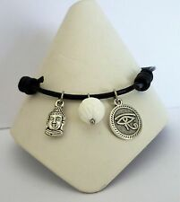 Adjustable Black Leather Ankle Bracelet Buddha + Eye of Horus Charms Shell Bead