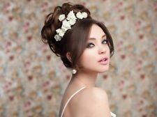 Neu 5 Curlies Haarschmuck Braut Karneval Kommunion klein Rose ivory/creme