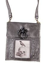 KBD Leather Small Cross Body Bag Bronze Leather Raven Skull Design Crystals