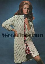 Vintage Crochet Pattern Lady's Coat/Cardigan/Long Jacket. DK Wool.