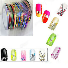 New 10X Colors Rolls Striping Tape Line Nail Sticker Stickers Kit Art UV Gel Tip