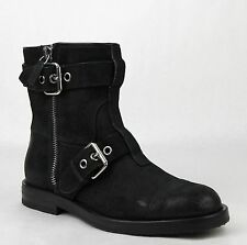 New Gucci Men's Black Suede Sella Ankle Biker Boots 8G/US 8.5 368430 CEG00 1000