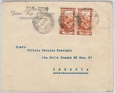LAVORO - Storia Postale: ANNULLO MUTO EMERGENZA su BUSTA da  PIAN DI BORNO 1952