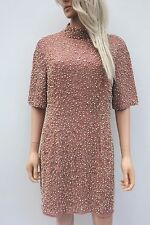 Asos Nude Pearl Scatter Sequin Embellished Shift Mini Wedding Party Dress 16 44