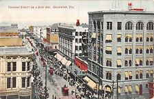c.1910 BEV Stores Tremont St. on Busy Day Galveston TX post card