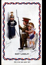 PATRIOTIQUE MILITAIRE 1916 / MILITAIRE ENFANT ANGLAIS protégeant FEMME FRANCAISE