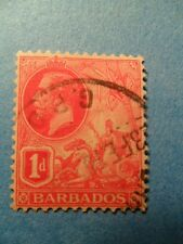 Barbados. KGV 1915 1d Scarlet Definitive. SG172a. P14. Wmk Mult Crown CA. Used.